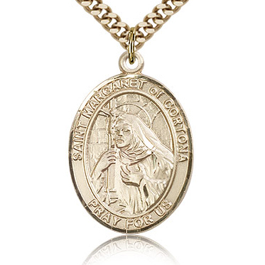 Gold Filled 1in St Margaret of Cortona Medal & 24in Chain