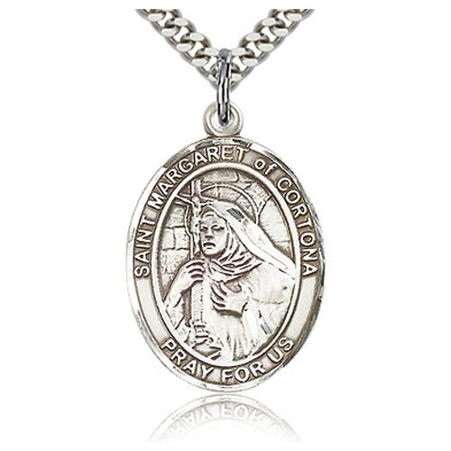 Sterling Silver 1in St Margaret of Cortona Medal & 24in Chain
