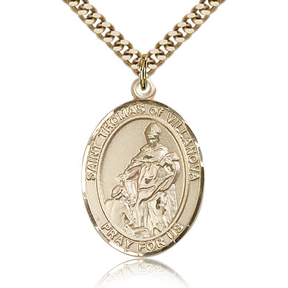Gold Filled 1in St Thomas of Villanova Medal & 24in Chain