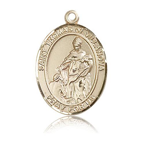 14kt Yellow Gold 1in St Thomas of Villanova Medal