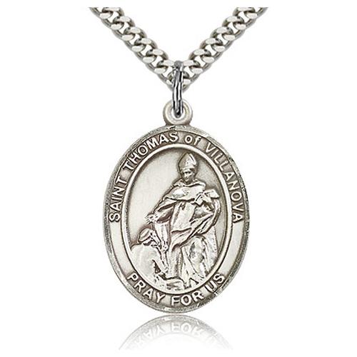 Sterling Silver 1in St Thomas of Villanova Medal & 24in Chain