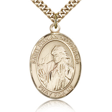 Gold Filled 1in St Finnian Medal & 24in Chain