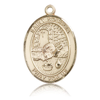 14kt Yellow Gold 1in St Rosalia Medal