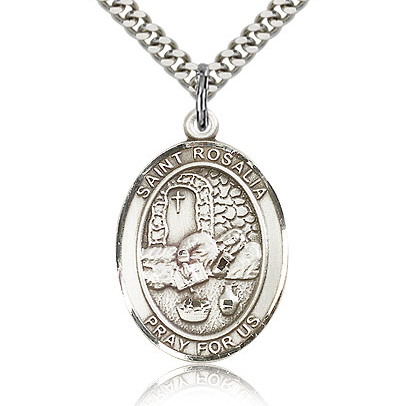 Sterling Silver 1in St Rosalia Medal & 24in Chain