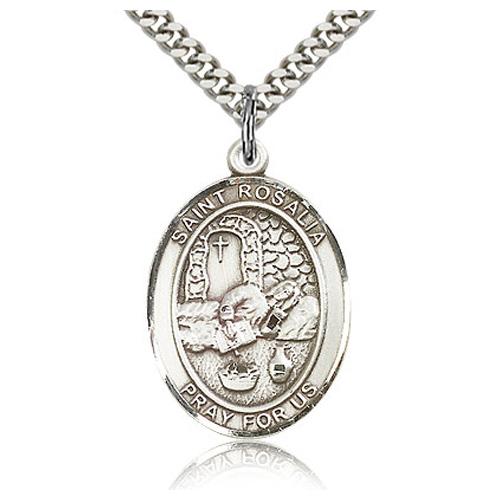 Sterling Silver 1in St Rosalia Medal & 24in Chain