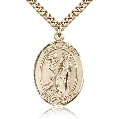 Gold Filled 1in St Roch Medal & 24in Chain
