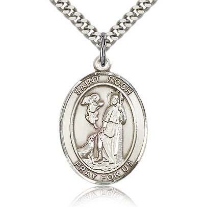 Sterling Silver 1in St Roch Medal & 24in Chain