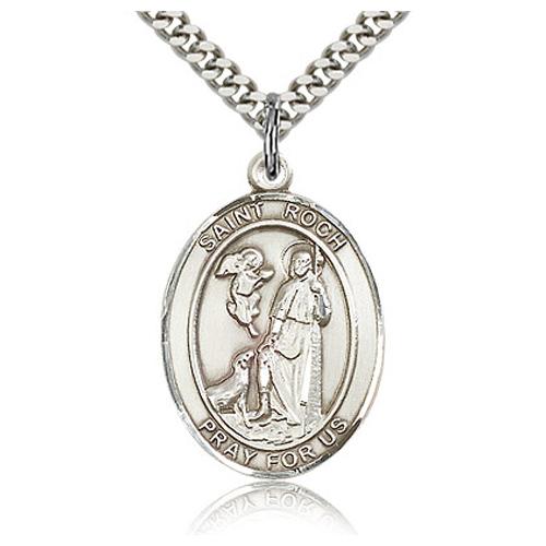 Sterling Silver 1in St Roch Medal & 24in Chain