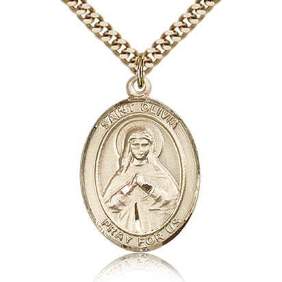 Gold Filled 1in St Olivia Medal & 24in Chain