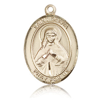 14kt Yellow Gold 1in St Olivia Medal