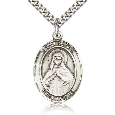 Sterling Silver 1in St Olivia Medal & 24in Chain