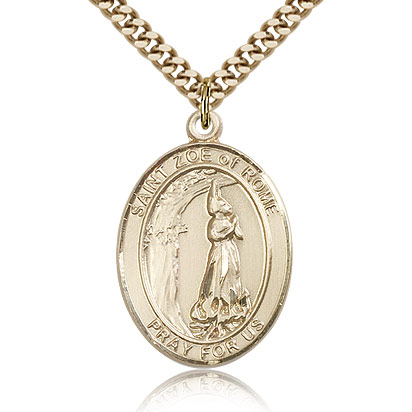 Gold Filled 1in St Zoe of Rome Medal & 24in Chain
