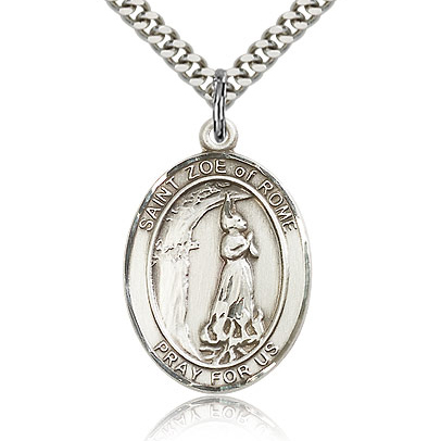 Sterling Silver 1in St Zoe of Rome Medal & 24in Chain