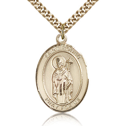 Gold Filled 1in St Ronan Medal & 24in Chain
