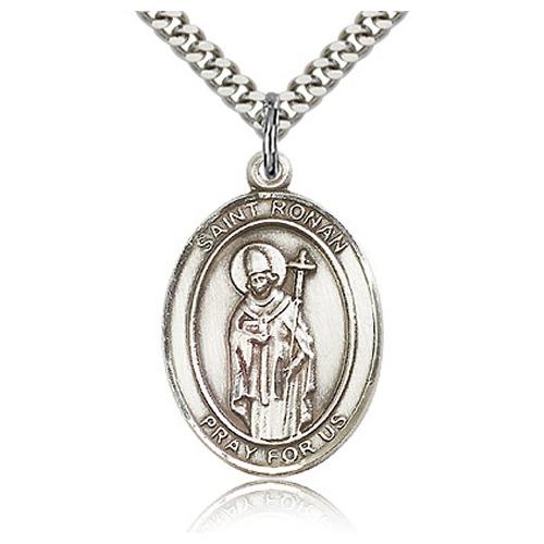 Sterling Silver 1in St Ronan Medal & 24in Chain