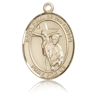 14kt Yellow Gold 1in St Paul of the Cross Medal