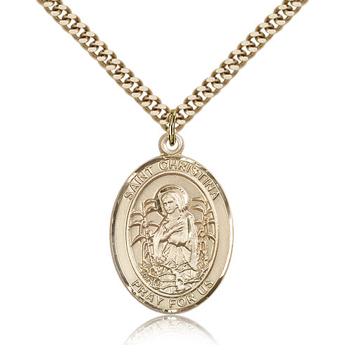 Gold Filled 1in St Christina Medal & 24in Chain