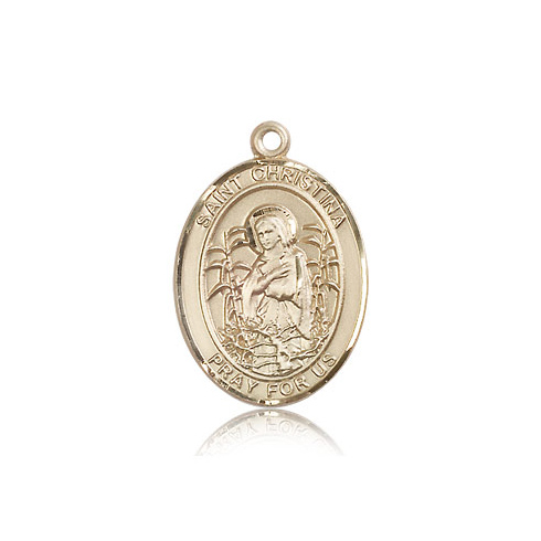 14kt Yellow Gold 1in St Christina Medal