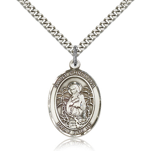 Sterling Silver 1in St Christina Medal & 24in Chain