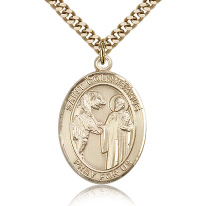 Gold Filled 1in St Columbanus Medal & 24in Chain