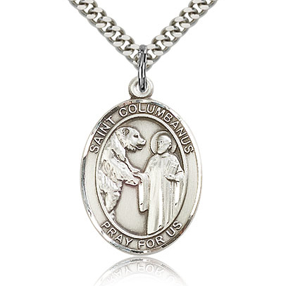 Sterling Silver 1in St Columbanus Medal & 24in Chain