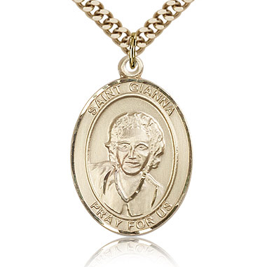 Gold Filled 1in St Gianna Medal & 24in Chain
