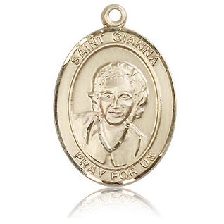 14kt Yellow Gold 1in St Gianna Medal