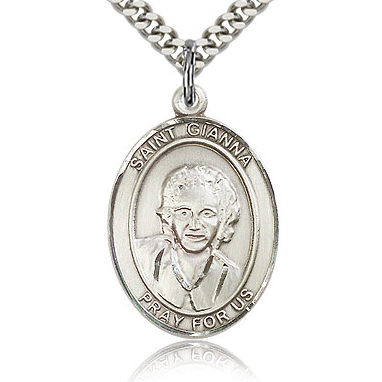 Sterling Silver 1in St Gianna Medal & 24in Chain