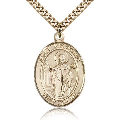 Gold Filled 1in St Wolfgang Medal & 24in Chain