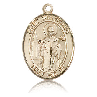 14kt Yellow Gold 1in St Wolfgang Medal