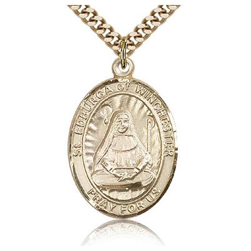 Gold Filled 1in St Edburga Medal & 24in Chain