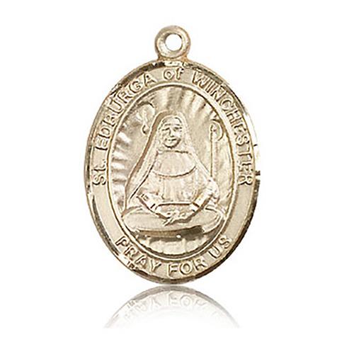 14kt Yellow Gold 1in St Edburga Medal