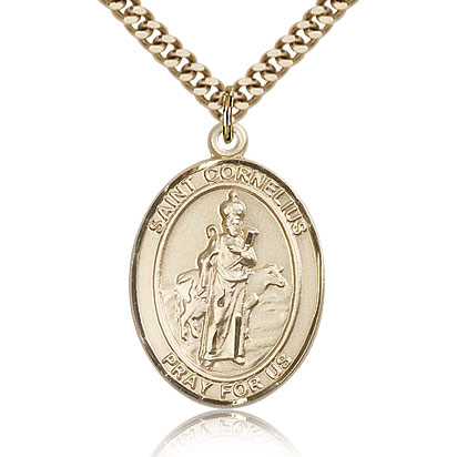 Gold Filled 1in St Cornelius Medal & 24in Chain