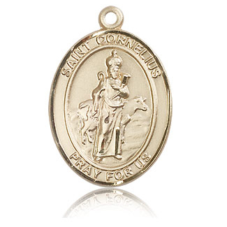 14kt Yellow Gold 1in St Cornelius Medal