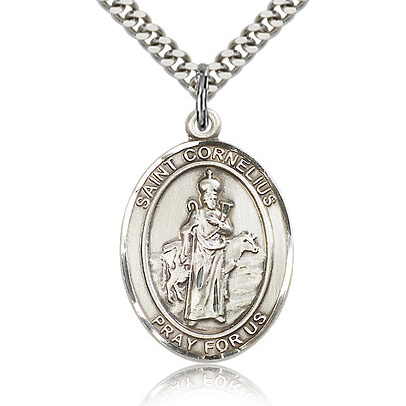 Sterling Silver 1in St Cornelius Medal & 24in Chain