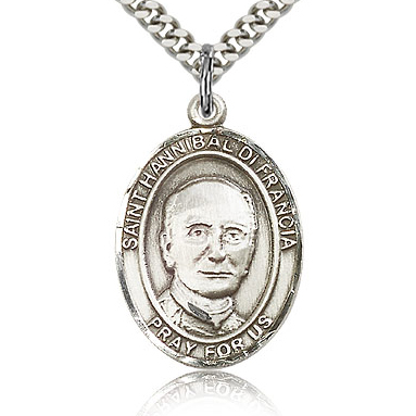 Sterling Silver 1in St Hannibal Medal & 24in Chain
