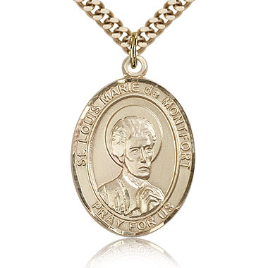 Gold Filled 1in St Louis de Montfort Medal & 24in Chain