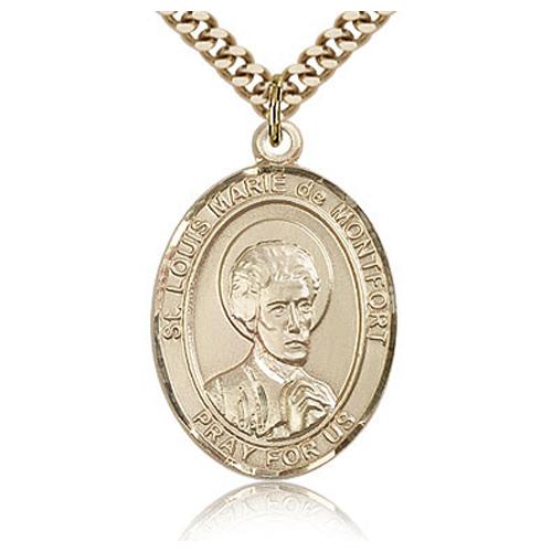 Gold Filled 1in St Louis de Montfort Medal & 24in Chain