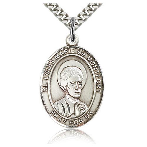 Sterling Silver 1in St Louis de Montfort Medal & 24in Chain