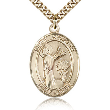 Gold Filled 1in St Kenneth Medal & 24in Chain