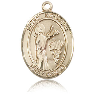 14kt Yellow Gold 1in St Kenneth Medal