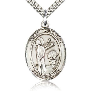 Sterling Silver 1in St Kenneth Medal & 24in Chain