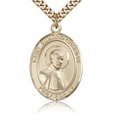 Gold Filled 1in St Edmund Medal & 24in Chain