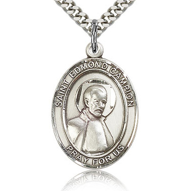 Sterling Silver 1in St Edmund Medal & 24in Chain