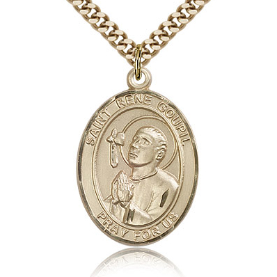Gold Filled 1in St Rene Goupil Medal & 24in Chain