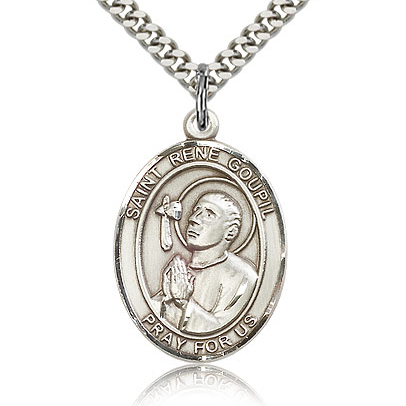 Sterling Silver 1in St Rene Goupil Medal & 24in Chain