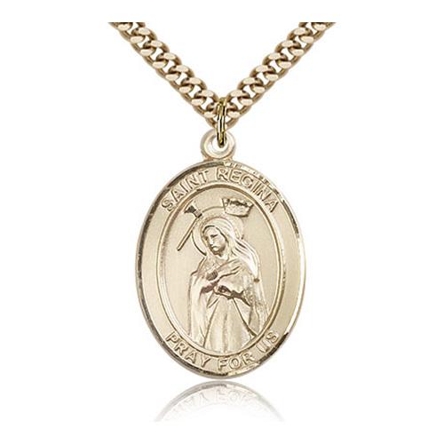Gold Filled 1in St Regina Medal & 24in Chain