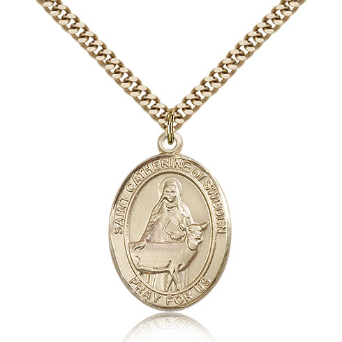 Gold Filled 1in St Catherine of Sweden Medal & 24in Chain