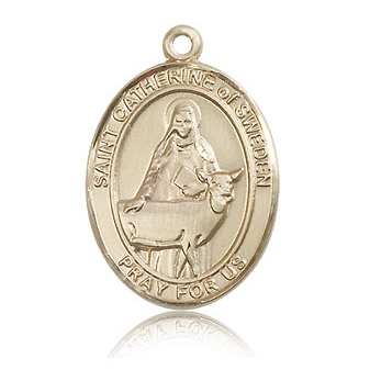 14kt Yellow Gold 1in St Catherine of Sweden Medal