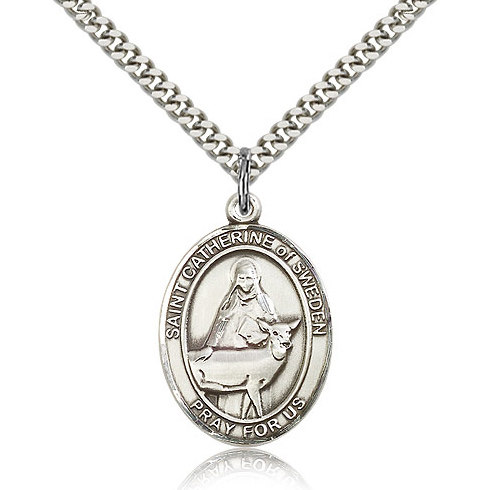 Sterling Silver 1in St Catherine of Sweden Medal & 24in Chain